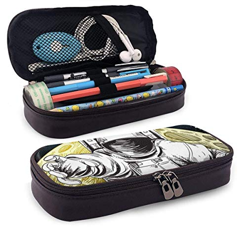 XCNGG Estuche para lápices neceser Astronaut and Planet PU Leather Pencil Case School Office Use Zipper Stationery Organizer