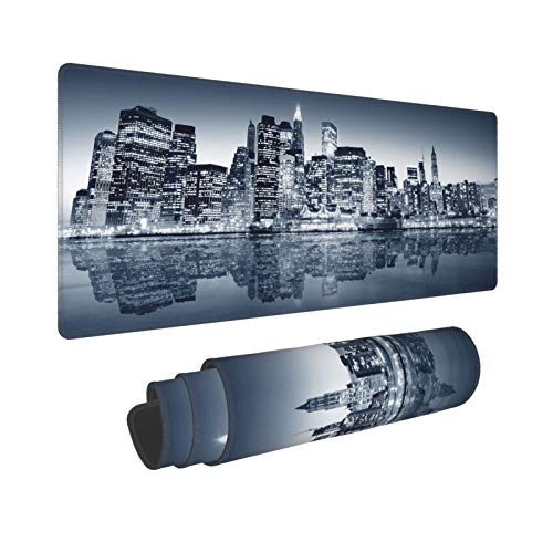 DUILLY Large Gaming Mouse Pad,Photography Urban City Night Lights Building Reflection New York City,MousePads with Non-Slip Base and Stitched Edge,Waterproof Desktop Mat for Home Office