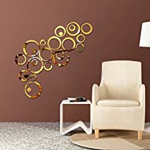 Wall1ders Atulya Arts Rings and Dots (Pack of 24) 3D Acrylic Sticker, 3D Acrylic Stickers for Wall (Golden)
