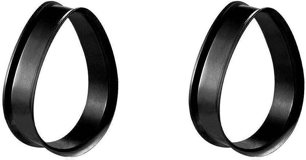 Blue Palm Jewelry Pair of Black IP Stainless Steel Double Flare Teardrop Shape Flesh Tunnel E567
