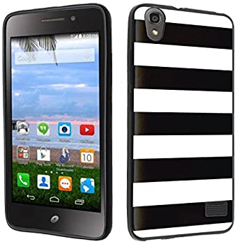 Case - [Stripe] Black  PaletteShield TM  Flexible TPU Gel Skin Cell Phone Cover Soft Slim Guard Protective Shell  Compatible for Huawei Pronto LTE H891L