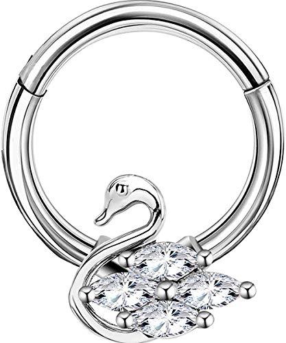 Silver Swan Gem Hinged Septum Clicker Daith Rook Ear Ring 1.2mm 10mm