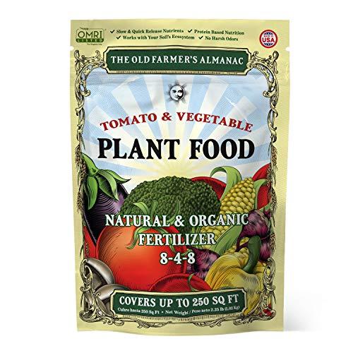 The Old Farmer s Almanac 2.25 lb. Organic Tomato & Vegetable Plant Food Fertilizer, Covers 250 sq. ft. (1 Bag)