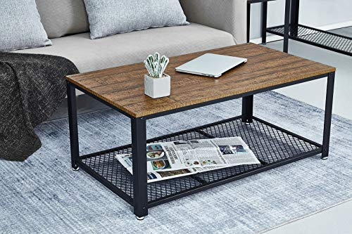 Industrial Style Side Table Gray Hallway Tea Table Living Room Meerveil Coffee Table Vintage Style Wood Look and Metal Frame