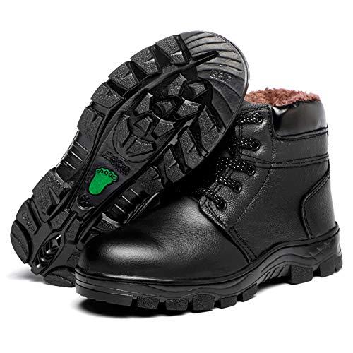 Zapatos de Trabajo,Botas de Seguridad Hombre Piel Forrado Invierno Cálidas Botas Punta de Anti-Piercing Mujer Peso Ligero Impermeable Antideslizante,Deportes Trekking Zapatos de construcción