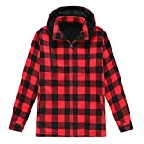 ZENTHACE Men's Sherpa Lined Fleece Flannel Plaid Shirt Jacket with Removable Hood Red L