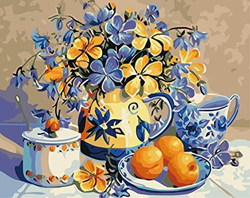 DIY Malen nach Zahlen für Erwachsene Junior Kinder, ABEUTY Blume Obst Platte Wasserkocher Pflanze 40x50cm Weihnachten Valentinstag Geschenk