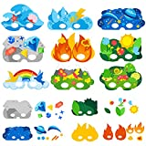 Make a Mask Kit Crafts for Kids International World Earth Element Mask Education Supplies Creative Craft Kits for Pre School Classroom Decor Nursery Space Carnival Masks 9 Styles with Elastic Bands