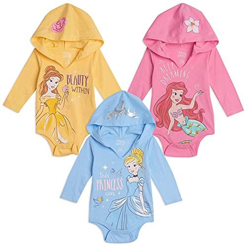 Disney Princess Cinderella Belle Ariel Baby Girls 3 Pack Hooded Bodysuits 6-9 Months
