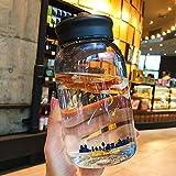 Vaso de agua de 600 ml, diseño de cielo estrellado degradado con bolsa protectora, bonita taza de agua a prueba de fugas para niñas, botella de agua deportiva (color: negro)