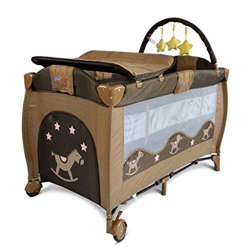 Changing Tabl GUO@ Baby Wickeltisch, Krippe Kinderspielbett, Fallschutzzaun Portable Faltbare Babywindel Tischlast 30 Kg Kinderzimmermöbel (Farbe : Kaffee - Farbe)
