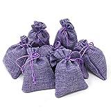 Quertee - 8 sacchettini di Lavanda di Lino da 15 g ciascuno, con Lavanda Francese - sacchettini di Lino Viola con Un Totale di 120 g di Fiori di Lavanda dalla Francia