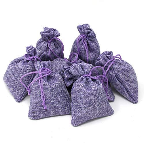 Quertee 8 x Lavendelsäckchen aus Leinen, mit je 15 g echtem französischen Lavendel - Violette Leinensäckchen mit insgesamt 120 g Lavendelblüten aus Frankreich