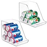 mDesign Large Plastic Standing Pop/Soda Can Dispenser Storage Organizer Bin for Kitchen Pantry, Countertops, Cabinets, Refrigerator - Compact Vertical Holder - 2 Pack - Clear