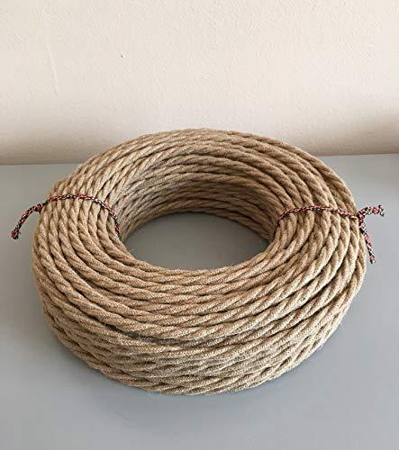 Textilkabel für Lampe, Stoffkabel 2-adrig (2x0,75mm²) - Jute. Made in Italy (10 Meter)