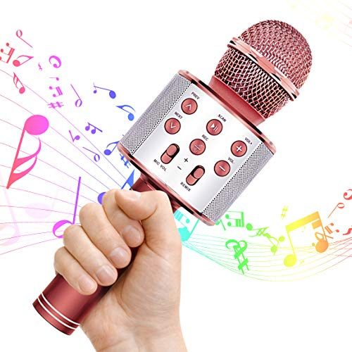 Wrystte Best Toys Gifts for 5-12 Year Old Girls, Bluetooth Microphone Portable Karaoke Machine for Kids Age 7-14, Fun Gift for Birthday Christmas(Rose Gold)
