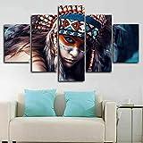5 Piezas Cuadro sobre Lienzo De Fotos Mujer India nativa Americana Lienzo Impresión Cuadros Decoracion Salon Grandes Cuadros para Dormitorios Modernos Mural Pared Listo para Colgar