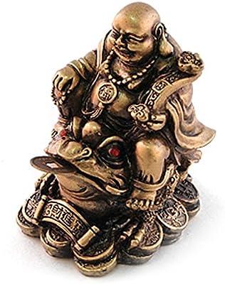 Giftman Lucky Brown Resin Buddha on Three Legged Wealth Toad Feng Shui Figurine 27697
