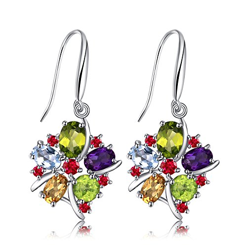 JewelryPalace Fiore Multicolore 6.2ct Naturale Ametista Granato Peridot Citrino Blu Topazio Dangle Orecchini 925 Sterling Argento