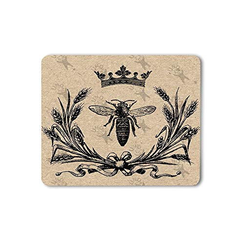 Moslion Bee Mouse Pad Vintage Queen Bees Retro Crown Floral Ear Bow Knot Black Gaming Mouse Mat Non-Slip Rubber Base Thick Mousepad for Laptop Computer PC 9.5x7.9 Inch