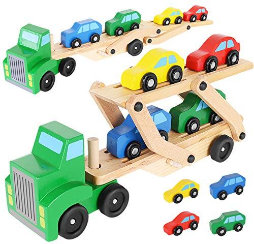 KRUZZEL Autotransporter aus Naturholz mit 4 Autos und abnehmbarem Anhänger Jungen 9353