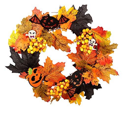 1 PZ Corona di Halloween Corona di Foglie d'Acero Corona di Autunno Corona di Zucca con Luce per Porta d'ingresso Home Decor Decorazione di Pasqua (Uno Stile) Articolo per Halloween