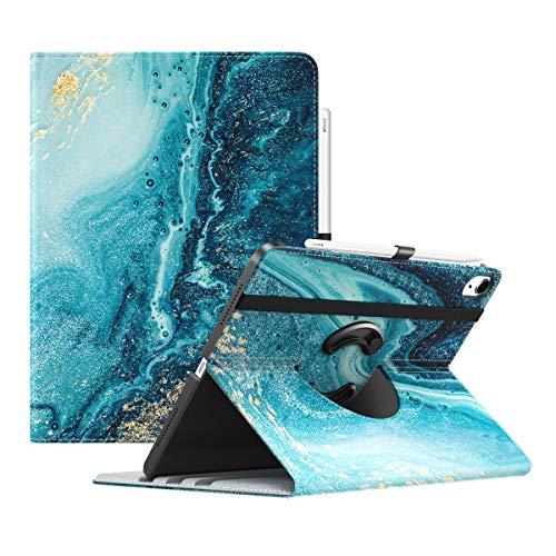 TiMOVO Hülle für iPad Air 4. Generation 10.9 Zoll 2020, 90° Drehbar PU Lederhülle Multi-Winkel Hülle Auto Schlaf/Wach Ständer, Vergoldend