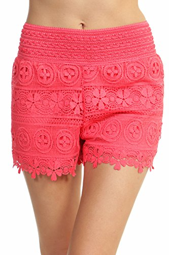 ToBeInStyle Women's Floral Lace Shorts - Coral - Large