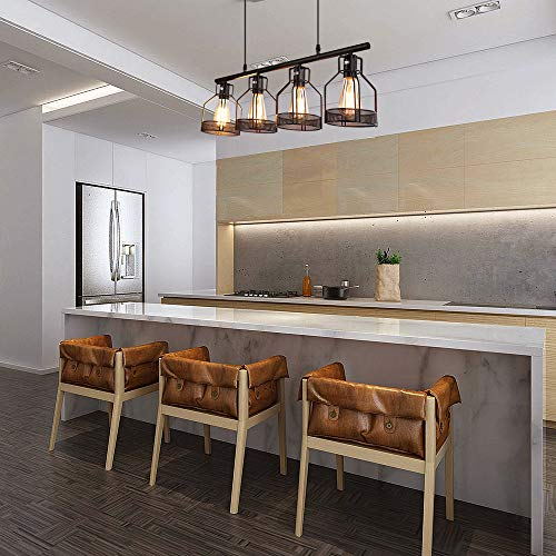 4-Light Pendant Lighting Kitchen Island Light Fixture with Paint Finish Cage Lampshade Modern Industrial Chandelier