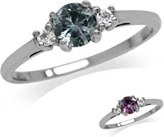 Silvershake Petite Simulated Color Change Alexandrite and White Cubic Zirconia 925 Sterling Silver Promise Ring