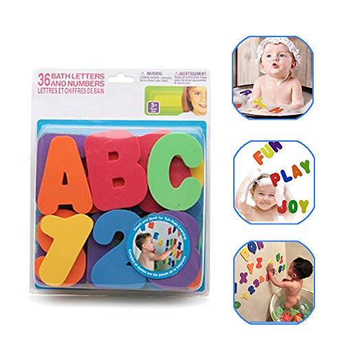 kuaetily Buchstaben Spielzeug, Badpielzeug,36 Buchstaben des Alphabets und Zahlen, Schwimmende Blasen Zahlen und Buchstaben Spielzeug Für Kinder