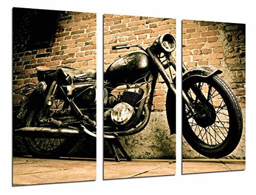 Quadro Su Legno, Vintage Black Motorcycle, Harley Davidson, 97 x 62cm, Stampa in qualita fotografica. Ref. 26712