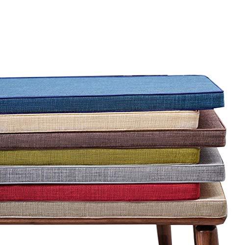 yzzseason Cojín de banco largo para interiores de 3/5 cm de grosor, antideslizante, cojín de asiento de madera con lazo, cojines de jardín de 2 o 3 plazas para exteriores (marrón, 35 x 160 x 5 cm)
