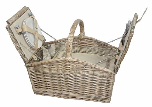 Red Hamper Deluxe Retro Double Lidded Wicker Fitted Picnic Basket