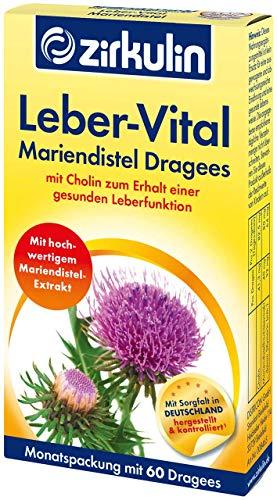 Zirkulin Leber-Vital Mariendistel Dragees, mit hochwertigem Mariendistel-Extrakt zum Schutz der Leber, Cholin zum Erhalt der wichtigen Entgiftungsfunktion, 1 x Monatspackung mit 60 Dragees