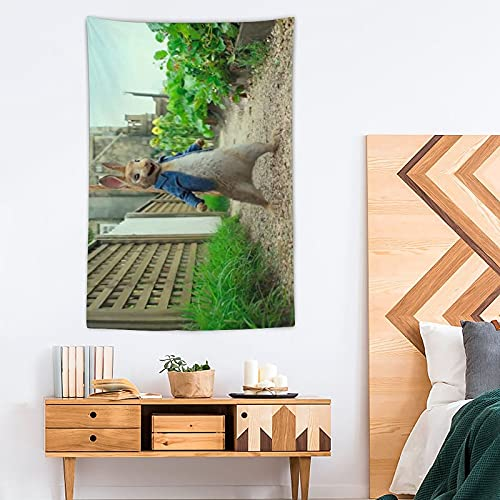 ASDFF Tapiz de Peter Rabbit – Pop Art – Tapiz de poliéster – Decoración del hogar – 100 x 150 cm