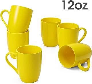FUNDOUNS Porcelain Mugs-12 Ounce for Coffee,Tea,milk,etc. Set of 6,Yellow