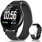 BANLVS Reloj Inteligente, Smartwatch IP67 1.22 Pulgadas Pulsómetro, Monitor de Sueño, Presión Arterial,Pulsera Actividad Inteligente para Android iOS Hombre y Mujer (Negro)