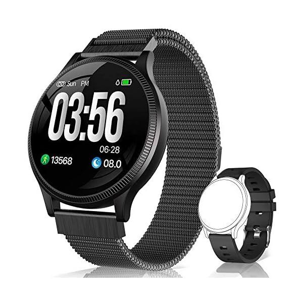 BANLVS Reloj Inteligente, Smartwatch IP67 1.22 Pulgadas Pulsómetro, Monitor de Sueño, Presión Arterial,Pulsera Actividad… 1