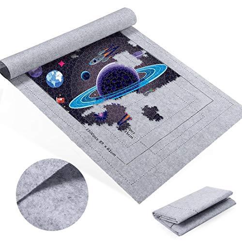 Zaloife Tapete Puzzle, Tapete para Enrollar Puzzles, Tapete para Puzzles 1500 Piezas, Puzzle Mat Gris,Estera de Rompecabezas Portátil, Puzzle Mat Roll