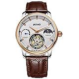 JIUSKO edición Limitada para Hombre 27Jewel Tourbillon 18K Rose Oro Brown Piel de cocodrilo Vestido Reloj