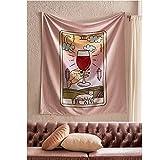 Tarjeta de Tarot rosa Tapiz Colgante de pared Brujería Paño de pared Copa de vino tinto Arte Decoración de la pared Tapiz Tela de fondo A5 180x200cm