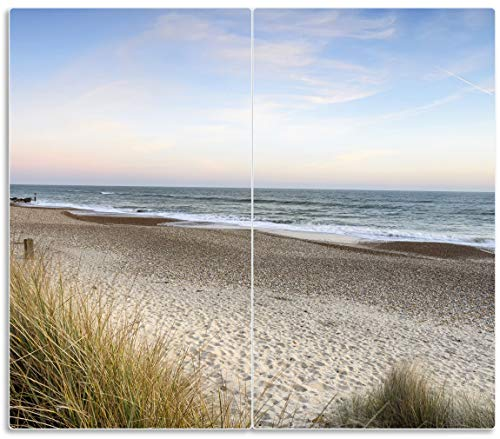 Wallario Herdabdeckplatte/Spritzschutz aus Glas, 2-teilig, 60x52cm, für Ceran- und Induktionsherde, Strandspaziergang im Urlaub an der Ostsee