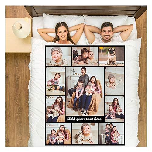 Zmkar Manta de forro polar para fotos personalizable, ideal para regalo de cumpleaños, boda, con imágenes, nombres y textos (Queen 150 x 220 cm)