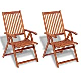 yorten 2 pcs Garden Chairs Hardwood Chairs Folding Reclining Solid Acacia Wood -Brown 57 x 69 x 111 cm