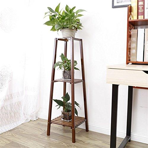 Antique Balcon Chlorophytum Bamboo Flower Rack Noyer Corner Frame Living Landing Bois massif Multilayer Plant Pot de fleurs Étagère (taille : 33cm*33cm*99cm)