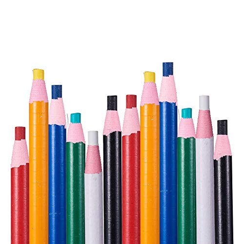BENECREAT 12PCS 6 Color Water Soluble Pencil Tracing Tools for Tailor's Sewing Marking And Students Drawing