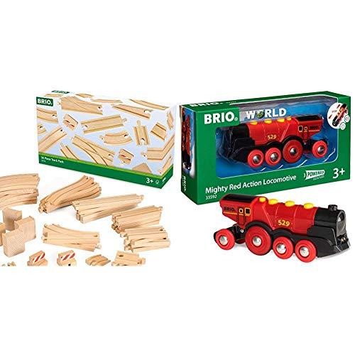 Brio World 33592 - Rote Lola Batterielok + Grosses Schienensortiment XXL, Sonderset, 50 teile