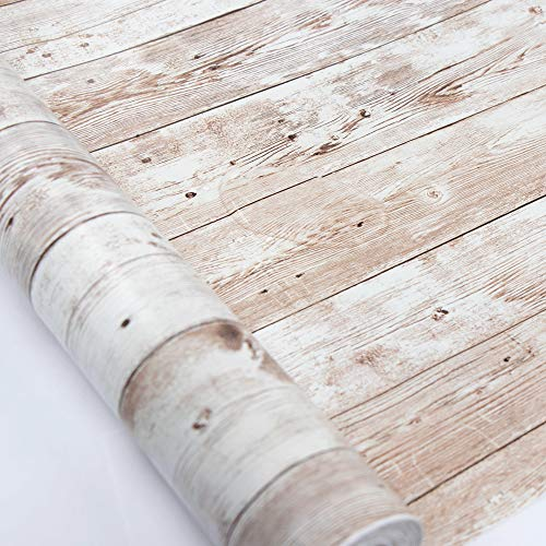 """Wood Self Adhesive Paper 17.71"""" X 32.8 Ft Self-Adhesive Removable Wood Peel and Stick Wallpaper Decorative Wall Covering Vintage Wood Panel Interior Film Easy to Clean"""