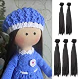5pcs/lot 25cmx100cm Long Straight Synthetic Black Handcraft Hair Extensions for Making BJD Pullip Doll's Wig